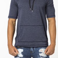 The Evans Short Sleeve Extended Hoodie in Navy