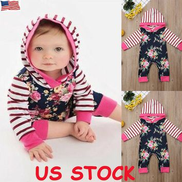 US Newborn Baby Boy Girl Outfits Clothes Hoodie Hooded Romper Bodysuit Jumpsuit