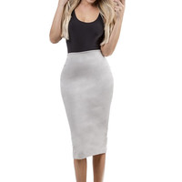 Ace of Suede Midi Pencil Skirt - Light Grey