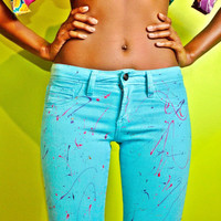 CUSTOM Turqouise Splatter Painted Skinny Jeans by LEE Size Small