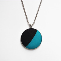 Modern Turquoise Aqua Blue Color Block Necklace, Fabric Button Pendant, Asymmetrical Minimalist Jewelry, Fun and Bright Simple Necklace