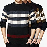 2017 New Men O-Neck Cotton Woolen Sweater Fashion Winter Autumn Spring Business Casual Knitwear Long Sleeve Jumpers Pullover