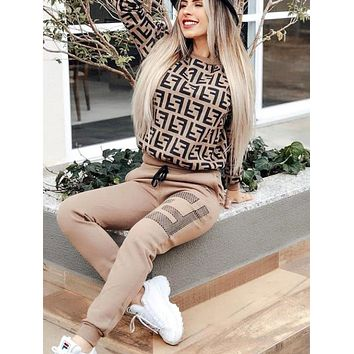 FENDI New Fashion Women Casual Long Sleeve Top Pants Trousers Set Two-Piece Sportswear Coffee