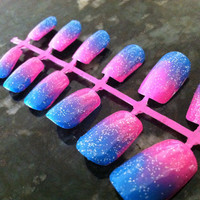 Bright Blue and Pink Sparkle Gradient Fake Nail Set
