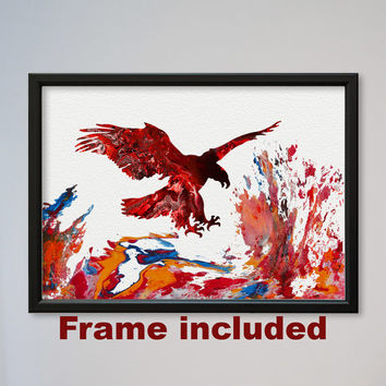 Eagle Poster Watercolor Print Children's Wall Art Watercolor Picture Illustration Art Watercolor Animal Bird Art Flying Eagle FRAMED