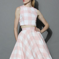 Check and Chic Cropped Top and Skirt Set Pink