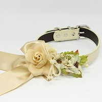 Champagne Floral Dog Collar, Pet Wedding, Rose Flowers, Handmade, Puppy Love