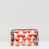 Skinnydip Flame Heart Make Up Bag at asos.com