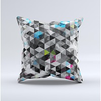 Modern Black & White Abstract Tiled Design with Blue Accents Ink-Fuzed Decorative Throw Pillow