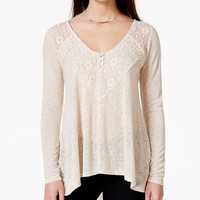American Rag Lace-Trim High-Low Pullover Tunic Top, Only at Macy's
