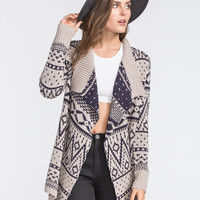 Woven Heart Fair Isle Womens Open Cardigan Multi  In Sizes