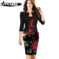 Vintage Spring Summer Dress Women Slim Office Pencil Bodycon Dress Casual Party Dresses
