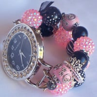 Pink and Black Beaded Watch Band and Face - Chunky - Interchangeable
