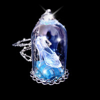 Cinderella necklace, glass slipper necklace, snowglobe necklace, fantasy jewelry, Valentines day, fairy tale jewelry, victorian necklace