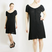 Vintage 80's 90's Black Textured Semi Sheer Dress