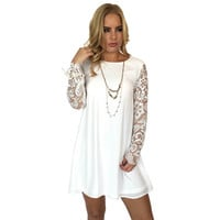 Euphoria Lace Shift Dress In Ivory