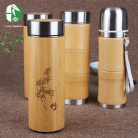 Bamboo thermal bottles for water Stainless Steel Thermos cup for tea coffee Vacuum Flasks insulated termos travel mug garrafa