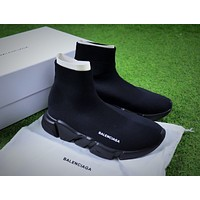 Balenciaga Speed Stretch Knit Mid Sneakers All Black Socks Shoes
