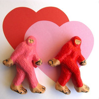 Pin Set - Sasquatch - Pink and Red Brooches - Valentine Monster Duo - Bigfoot