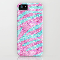 Zebra Stripes Pattern Pink Teal Glitter photo print iPhone Case by Girly Trend | Society6
