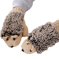 Women Winter Cartoon/Leather Rabbit Fur Gloves Thcik Knit Hottest Mitts Hedgehog