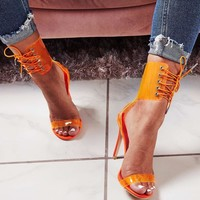 Stylish women's sandals summer new fish mouth cross strap see-through sexy super stilettos