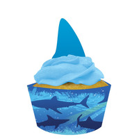 Shark Splash Cupcake Wrappers with Picks/Case of 144