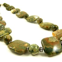 Rhyolite Gemstone Beaded Necklace with Square Olive Green, Brown, and Sterling Silver Beads