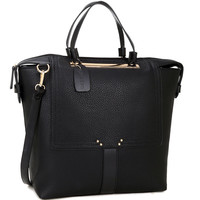 Buffalo Faux Leather Work Tote Bag in Black