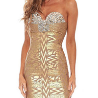Strapless Sexy Gold Metallic Party Bandage Dress