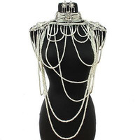 "crystal pearl drop body chain collar bib choker necklace 3.20"" earrings bridal"