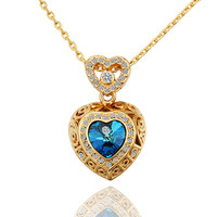 Lady's Gold Plated Dos Corazones Brass Pendant Necklace with Sparkly Contour and Center Blue Swarovski Crystal