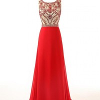 Changjie Women's Long Beaded Chiffon Formal Party Prom Dresses