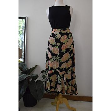 Vintage Black Reversible Floral Midi Skirt