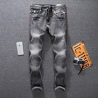 Mens Street Style Fashion Jeans Black Gray Slim Fit Ripped Jeans For Men Pants Classic Denim Biker Jeans