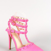 Liliana Neon Leatherette Pyramid Studded T-Strap Mule Pump Color: Pink, Size: 8