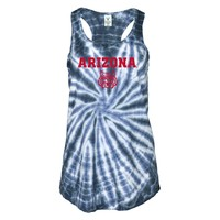 Official NCAA Venley University of Arizona Wildcats U of A Wilber Wildcat BEAR DOWN! Women's Tie Dye Flowy Racerback Tan