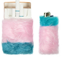 PINK & TURQUOISE FUR CIGARETTE & LIGHTER SET
