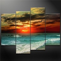 Canvas Print Wall Art Painting for Home Decor a Seagull Fly Across Colorful Sky Fantanty Green Sea Blue Beach Sunset Romantic Seascapes Waves Ocean Seascape 4 Pieces Panel Paintings Modern Giclee Stretched and Framed Artwork the Picture for Living Room Dec