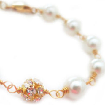 Pearl Bracelet with Gold Beads, Wedding Jewelry White Pearls Bridal Bracelet