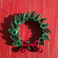Christmas Wreath Eco-Friendly Paper Quilled Pendant OR Pin - quilling pendant necklace, paper jewelry, paper pendant, handmade xmas jewelry