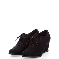 Teens Black Lace Up Wedge Shoe Boots