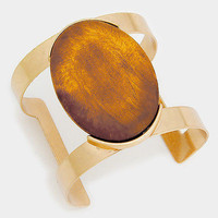 """2"""" gold wood cabochon bangle cuff bracelet stack cage basketball wives"""