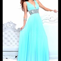 WowDresses — Sexy A-line V-neck Neckline Sweep Train Prom Dress
