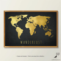 Chic Gold World Map, World Map Print, Black and Gold Home Decor, Gold Art Print, Bedroom Wall Art
