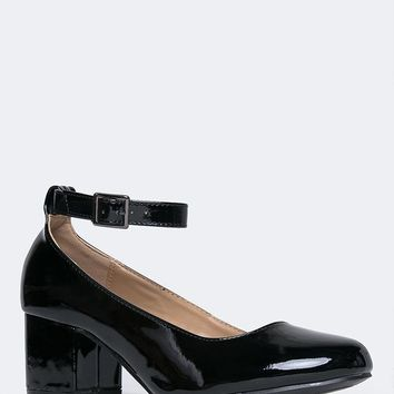 Millie Ankle Strap Block Heel Pumps