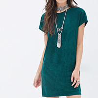 FOREVER 21 Faux Suede Shift Dress Green