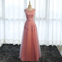 Beauty-Emily Long Elegant Bridesmaid Dresses 2020 Lace O Neck Wedding Guest Dress Tulle Wedding Party Gowns for Woman Plus Size