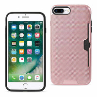 REIKO IPHONE 7 PLUS SLIM MESH SURFACE ARMOR HYBRID CASE WITH CARD HOLDER IN ROSE GOLD