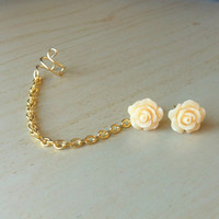 Cream colored resin mini rose bud ear stud with gold ear cuff chain earring 10mm
